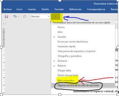 aptura de pantalla en la que se despliega el menú emergente Personalizar barra de herramientas de acceso rápido