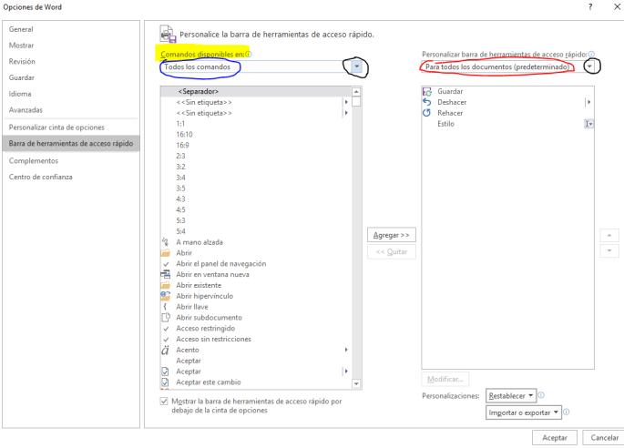 El cuadro de diálogo Personalice la barra de herramientas de acceso rápido