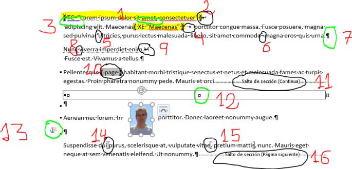 Texto de ejemplo con la mayoría de las Marcas de formato
