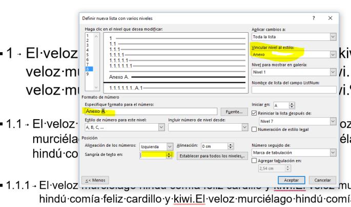 Muestra al cuadro de diálogo Definir nueva lista con varios niveles, con los ajustes necesarios para personalizar un estilo de lista multinivel vinculado a estilos de título integrados y personalizados