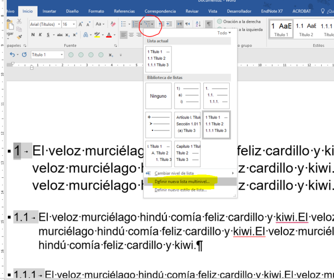 Muestra la galería de estilos de lista multinivel para modificar el estilo de lista