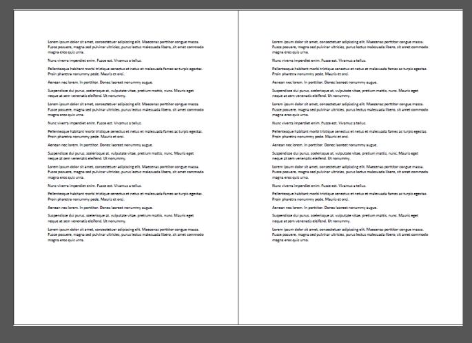 El resultado final es un documento en A4, orientado horizontal, repitiendo nuestro texto. Al cortar quedan dos A5. Igual resultado se obtiene si partimos de un A3.