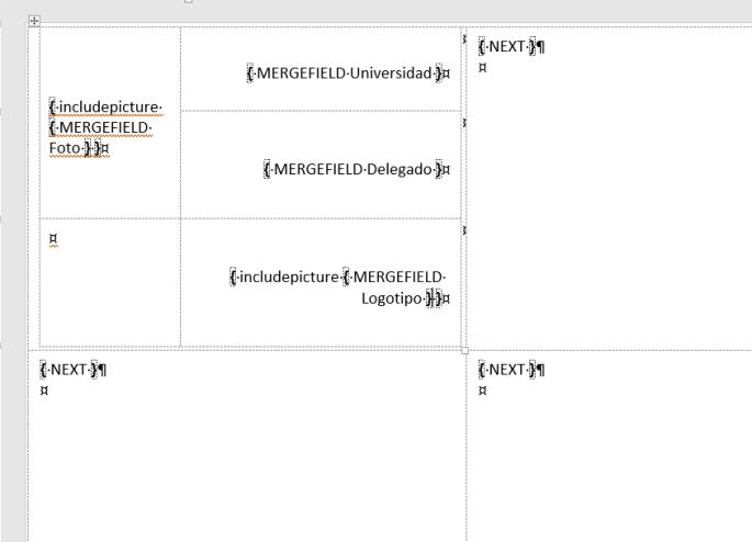 Muestra los campos de combinación ya colocados para realizar la combinación de correspondencia con imágenes