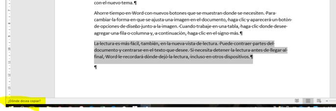 Aviso en la Barra de tareas de Word de copiar elementos.