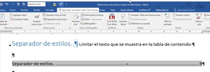 La imagen muestra un Separador de estilos en un párrafo con dos estilos aplicados