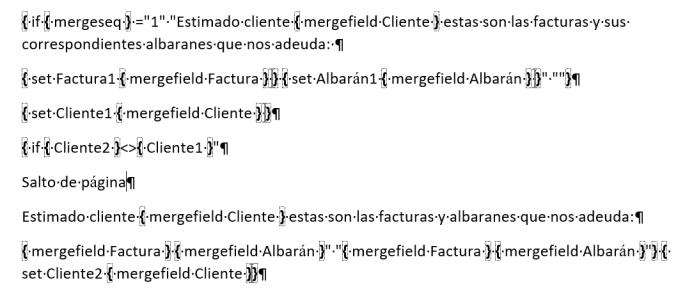 Muestra los campos editados para conseguir la agrupación de registros en la combinación de correspondencia.