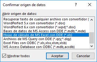 El cuadro de diálogo Confirmar origen de datos mostrando todas las opciones y protocolos de conversión